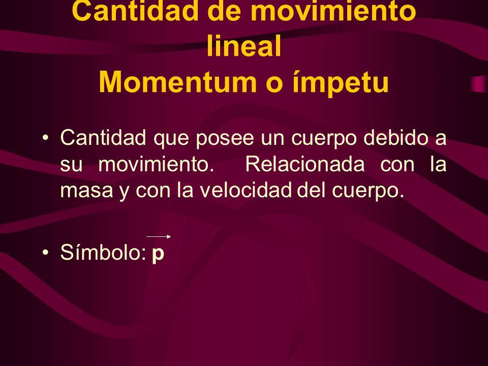 Cantidad de movimiento lineal Momentum o ímpetu Cantidad que posee un cuerpo debido a su movimiento. Relacionada con la masa y con la velocidad del cu