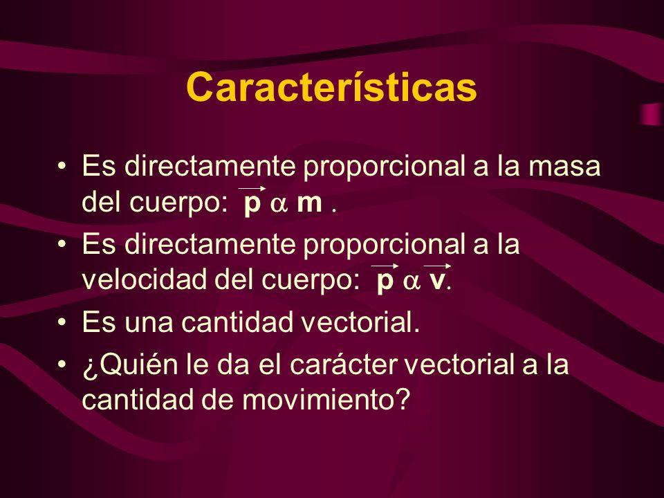 Características Es directamente proporcional a la masa del cuerpo: p m. Es directamente proporcional a la velocidad del cuerpo: p v. Es una cantidad v