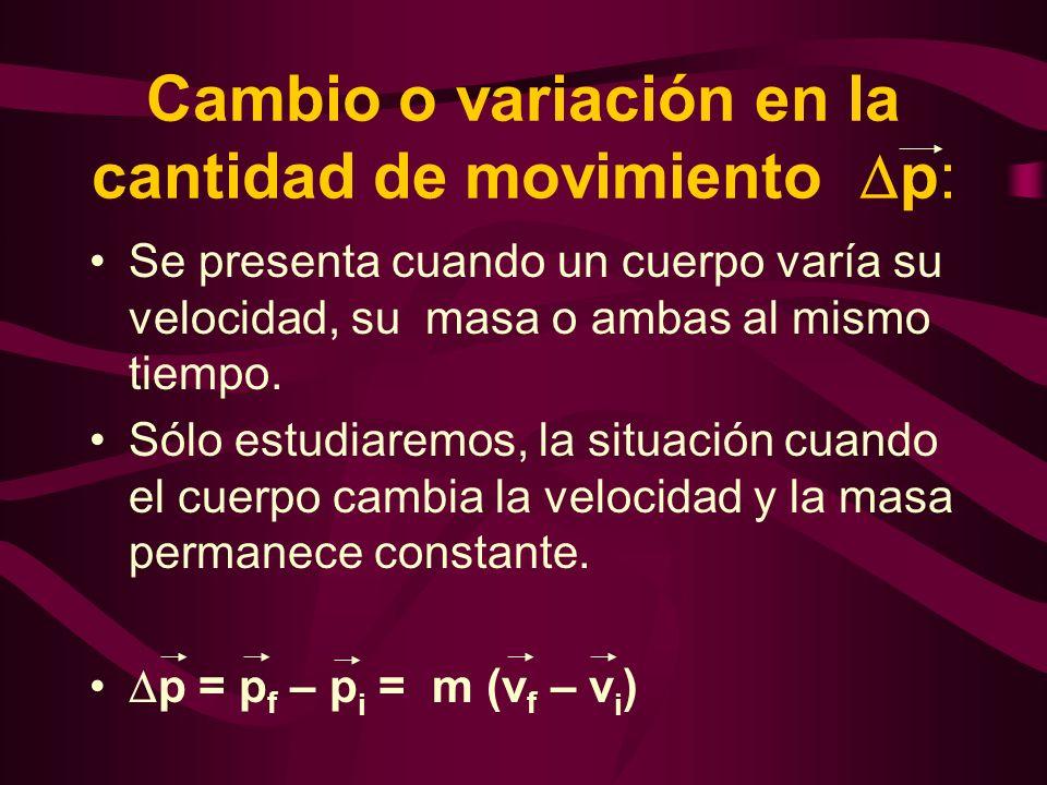 Cambio o variación en la cantidad de movimiento p: Se presenta cuando un cuerpo varía su velocidad, su masa o ambas al mismo tiempo. Sólo estudiaremos