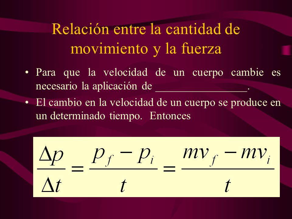 Relación entre la cantidad de movimiento y la fuerza Para que la velocidad de un cuerpo cambie es necesario la aplicación de ________________. El camb