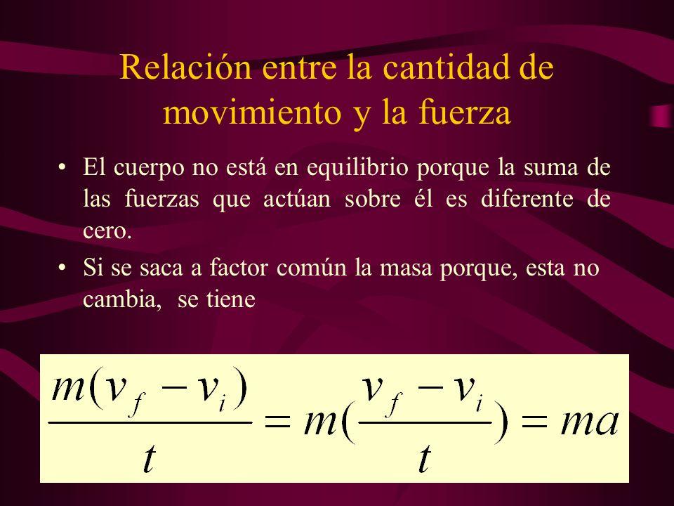Relación entre la cantidad de movimiento y la fuerza El cuerpo no está en equilibrio porque la suma de las fuerzas que actúan sobre él es diferente de