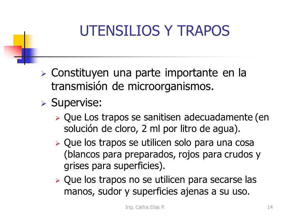 UTENSILIOS Y TRAPOS Constituyen una parte importante en la transmisión de microorganismos. Supervise: Que Los trapos se sanitisen adecuadamente (en so