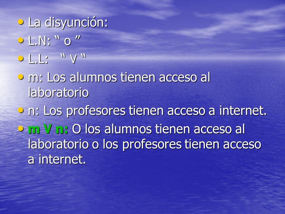 La disyunción: La disyunción: L.N: o L.N: o L.L: ۷ L.L: ۷ m: Los alumnos tienen acceso al laboratorio m: Los alumnos tienen acceso al laboratorio n: L