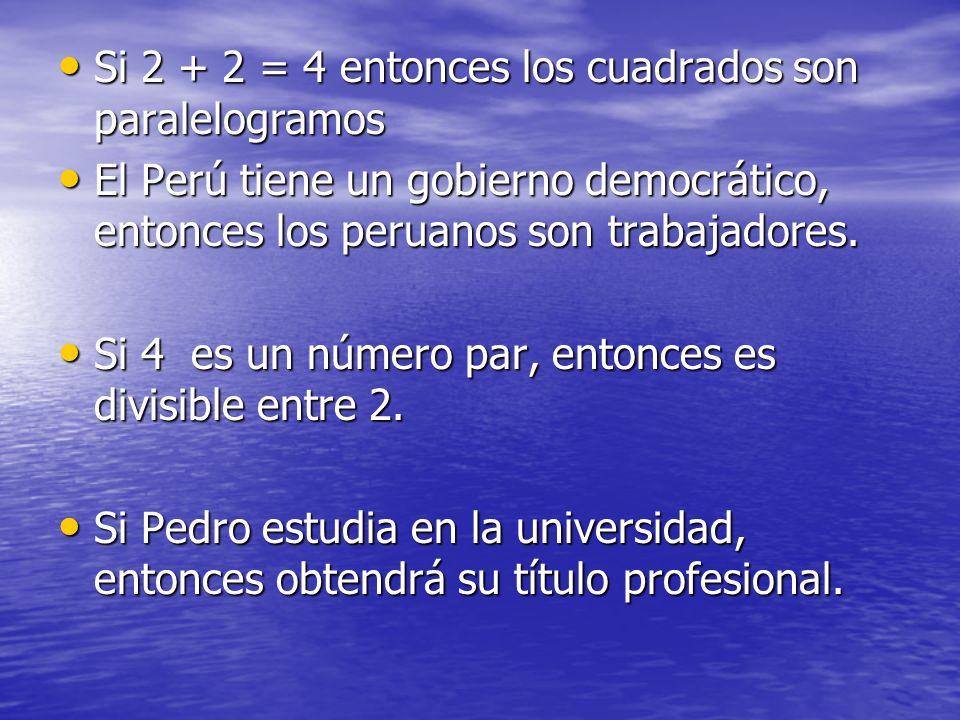 Si 2 + 2 = 4 entonces los cuadrados son paralelogramos Si 2 + 2 = 4 entonces los cuadrados son paralelogramos El Perú tiene un gobierno democrático, e
