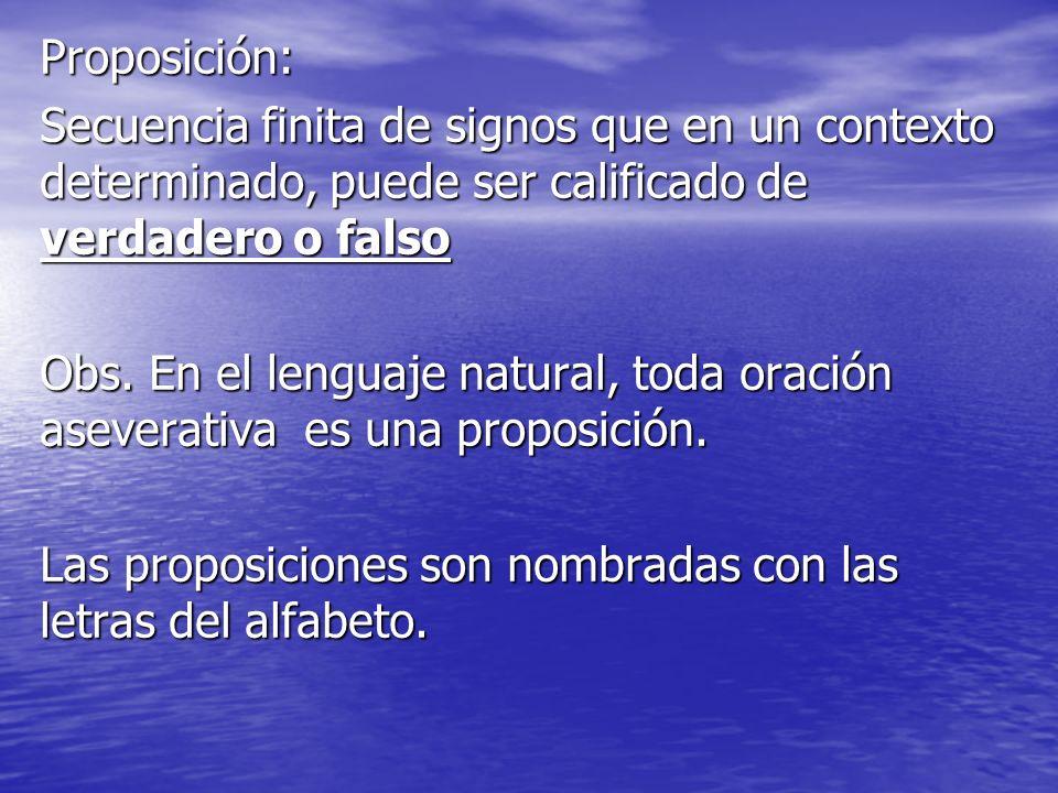 Proposición: Secuencia finita de signos que en un contexto determinado, puede ser calificado de verdadero o falso Obs. En el lenguaje natural, toda or