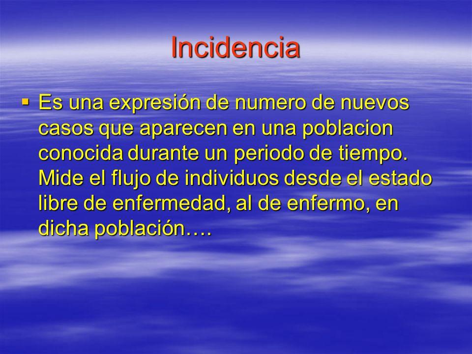 Incidencia Es una expresión de numero de nuevos casos que aparecen en una poblacion conocida durante un periodo de tiempo. Mide el flujo de individuos