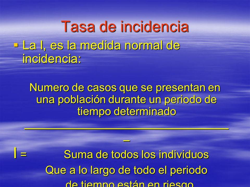 Tasa de incidencia Tasa de incidencia La I, es la medida normal de incidencia: La I, es la medida normal de incidencia: Numero de casos que se present