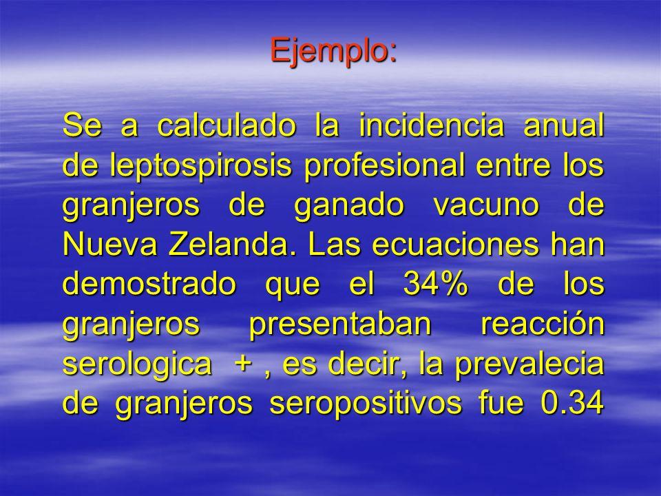 Ejemplo: Se a calculado la incidencia anual de leptospirosis profesional entre los granjeros de ganado vacuno de Nueva Zelanda. Las ecuaciones han dem