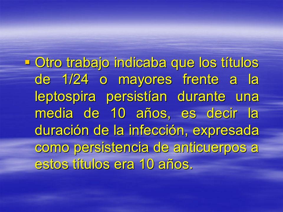 Otro trabajo indicaba que los títulos de 1/24 o mayores frente a la leptospira persistían durante una media de 10 años, es decir la duración de la inf