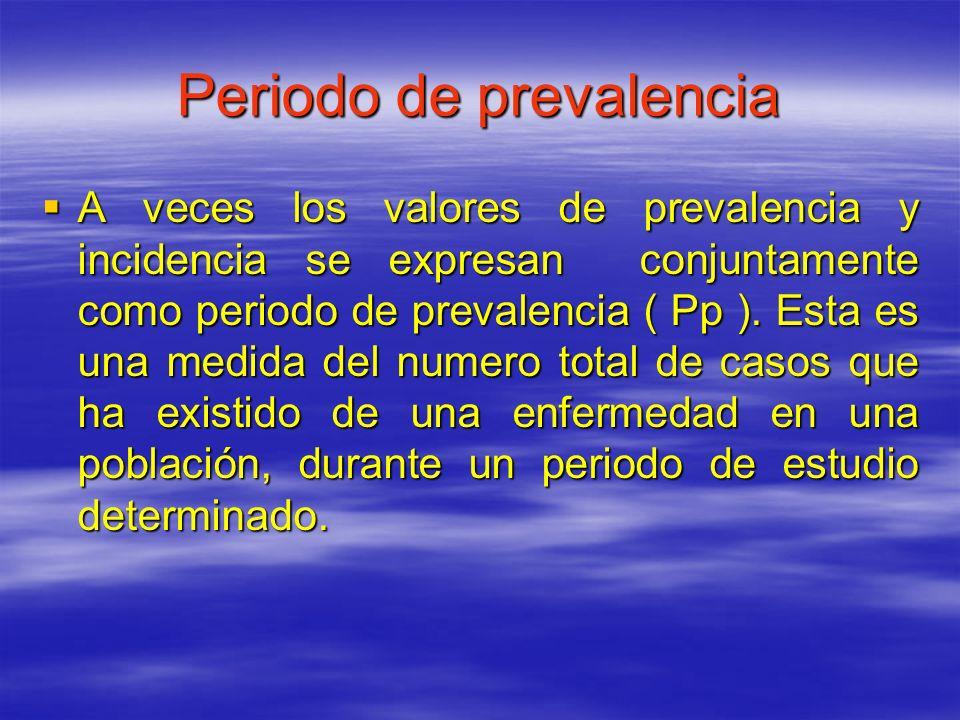 Periodo de prevalencia A veces los valores de prevalencia y incidencia se expresan conjuntamente como periodo de prevalencia ( Pp ). Esta es una medid