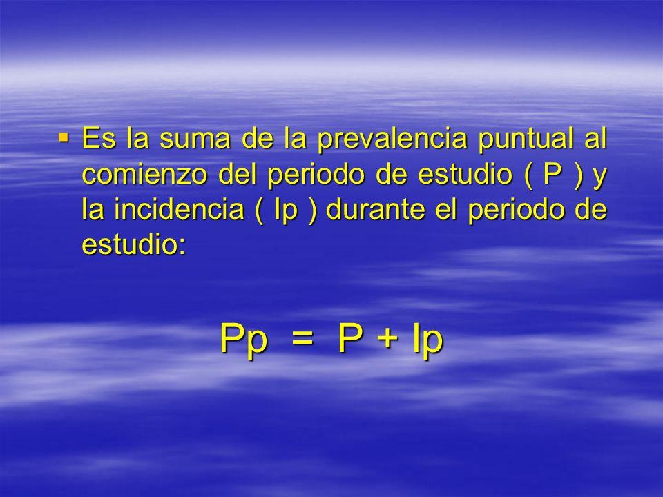 Es la suma de la prevalencia puntual al comienzo del periodo de estudio ( P ) y la incidencia ( Ip ) durante el periodo de estudio: Es la suma de la p