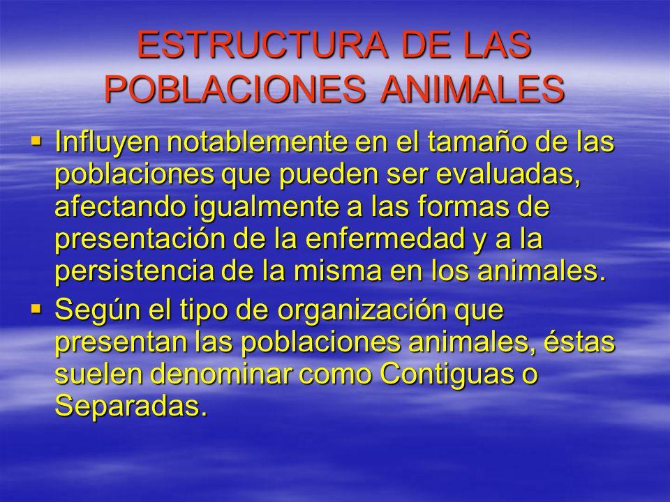 ESTRUCTURA DE LAS POBLACIONES ANIMALES Influyen notablemente en el tamaño de las poblaciones que pueden ser evaluadas, afectando igualmente a las form