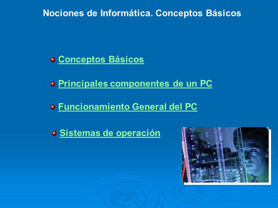 Conceptos Básicos Funcionamiento General del PC Sistemas de operación Nociones de Informática. Conceptos Básicos Principales componentes de un PC