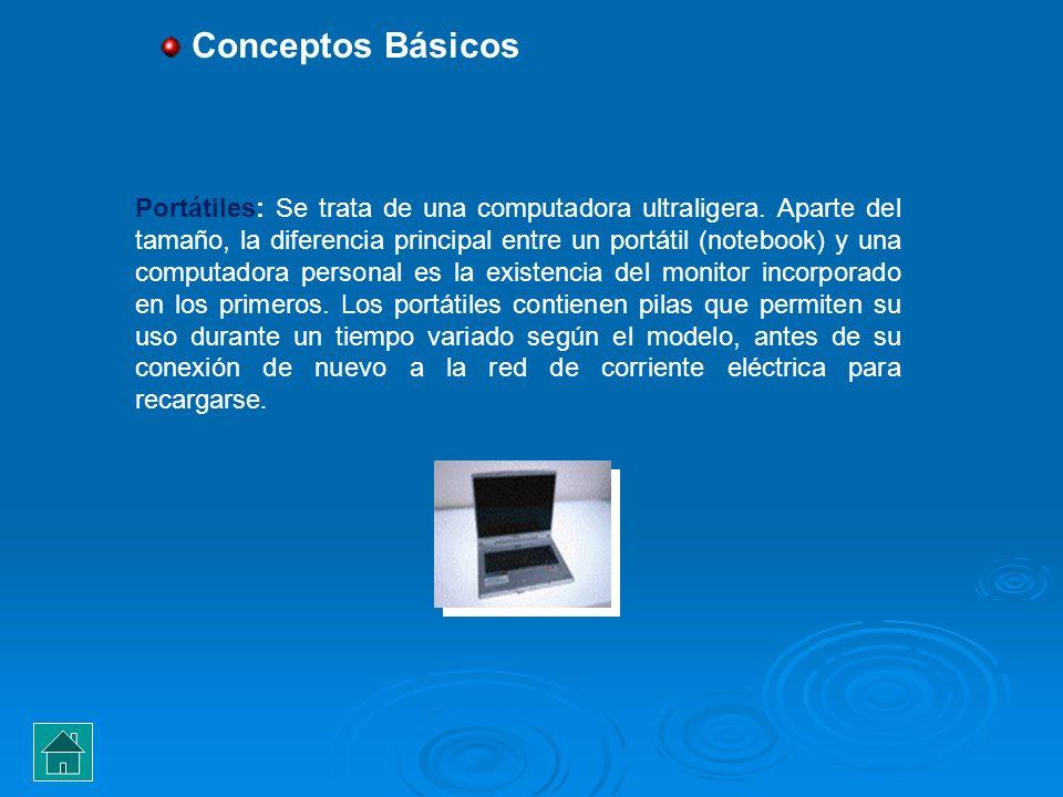 Portátiles: Se trata de una computadora ultraligera. Aparte del tamaño, la diferencia principal entre un portátil (notebook) y una computadora persona