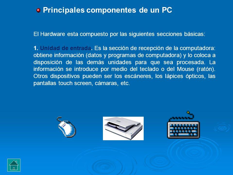 Principales componentes de un PC El Hardware esta compuesto por las siguientes secciones básicas: 1. Unidad de entrada. Es la sección de recepción de