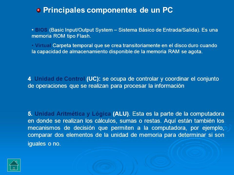 4. Unidad de Control (UC): se ocupa de controlar y coordinar el conjunto de operaciones que se realizan para procesar la información BIOS (Basic Input