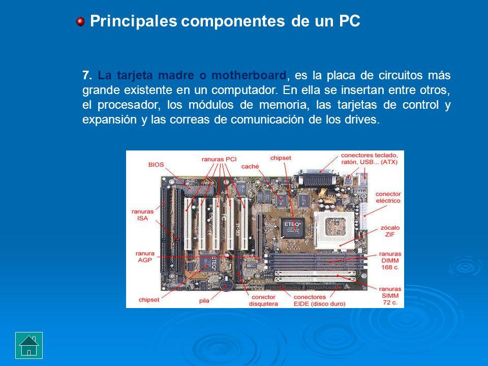 7. La tarjeta madre o motherboard, es la placa de circuitos más grande existente en un computador. En ella se insertan entre otros, el procesador, los