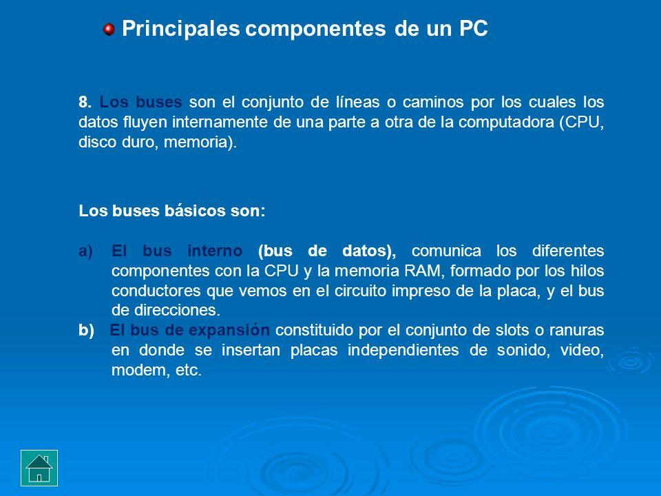 Los buses básicos son: a)El bus interno (bus de datos), comunica los diferentes componentes con la CPU y la memoria RAM, formado por los hilos conduct