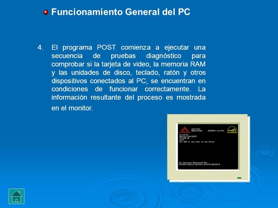 4.El programa POST comienza a ejecutar una secuencia de pruebas diagnóstico para comprobar si la tarjeta de video, la memoria RAM y las unidades de di