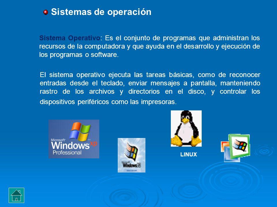 Sistemas de operación Sistema Operativo: Es el conjunto de programas que administran los recursos de la computadora y que ayuda en el desarrollo y eje