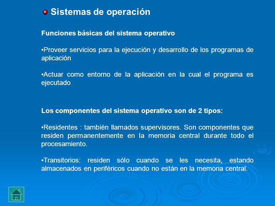 Sistemas de operación Funciones básicas del sistema operativo Proveer servicios para la ejecución y desarrollo de los programas de aplicación Actuar c