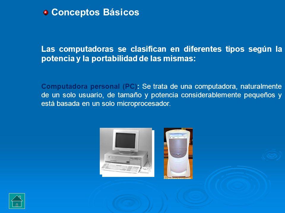 Conceptos Básicos Las computadoras se clasifican en diferentes tipos según la potencia y la portabilidad de las mismas: Computadora personal (PC): Se