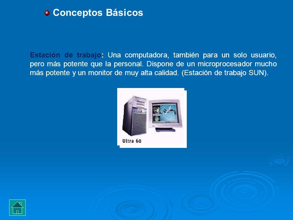 Estación de trabajo: Una computadora, también para un solo usuario, pero más potente que la personal. Dispone de un microprocesador mucho más potente