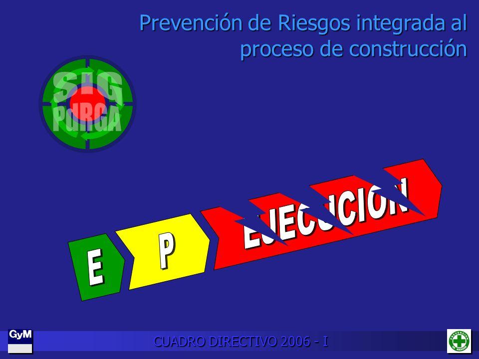 Prevención de Riesgos integrada al proceso de construcción CUADRO DIRECTIVO 2006 - I