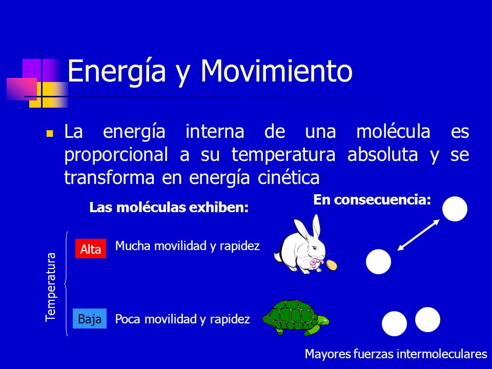 Energía y Movimiento La energía interna de una molécula es proporcional a su temperatura absoluta y se transforma en energía cinética Poca movilidad y