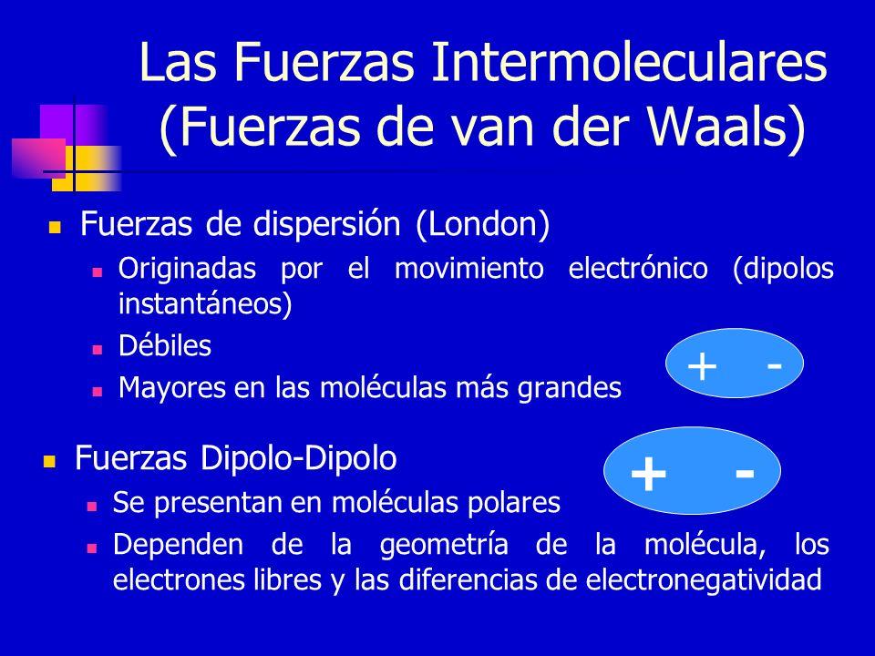 Las Fuerzas Intermoleculares (Fuerzas de van der Waals) Fuerzas de dispersión (London) Originadas por el movimiento electrónico (dipolos instantáneos)