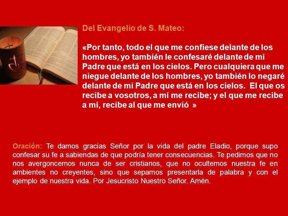 VIERNESES 11: EL PADRE MARIO ROS EZCURRA Hoy recordamos al Padre Mario Ros Ezcurra, el más joven de los 5 mártires de la Congregación que serán beatificados este domingo.