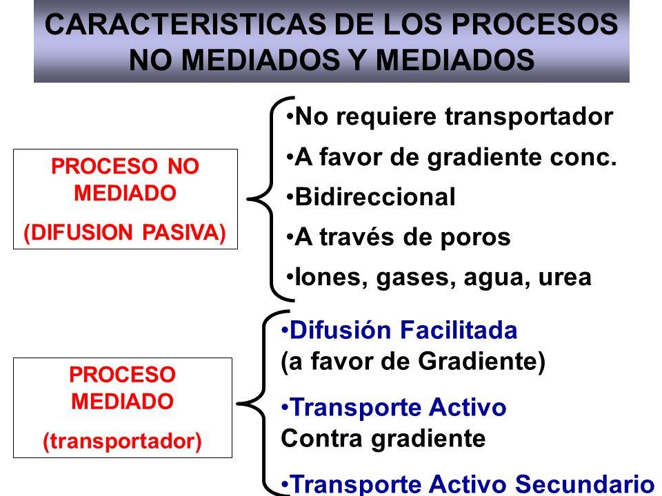 CARACTERISTICAS DE LOS PROCESOS NO MEDIADOS Y MEDIADOS PROCESO NO MEDIADO (DIFUSION PASIVA) PROCESO MEDIADO (transportador) No requiere transportador