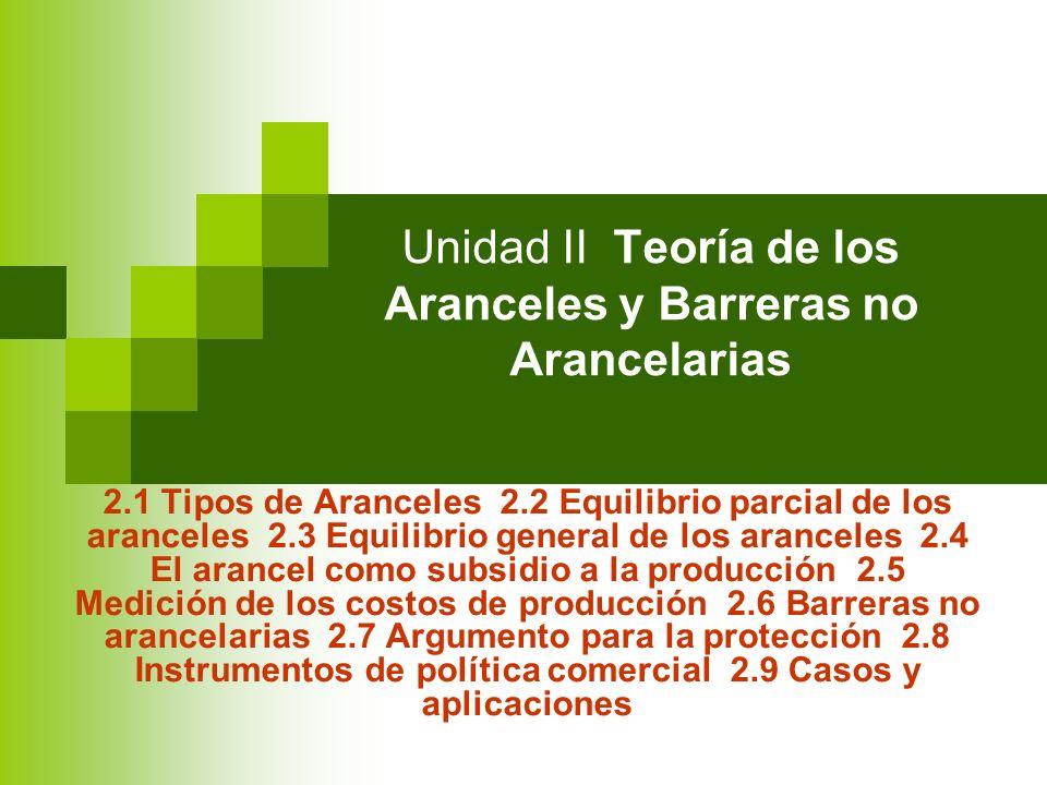 Unidad II Teoría de los Aranceles y Barreras no Arancelarias 2.1 Tipos de Aranceles 2.2 Equilibrio parcial de los aranceles 2.3 Equilibrio general de