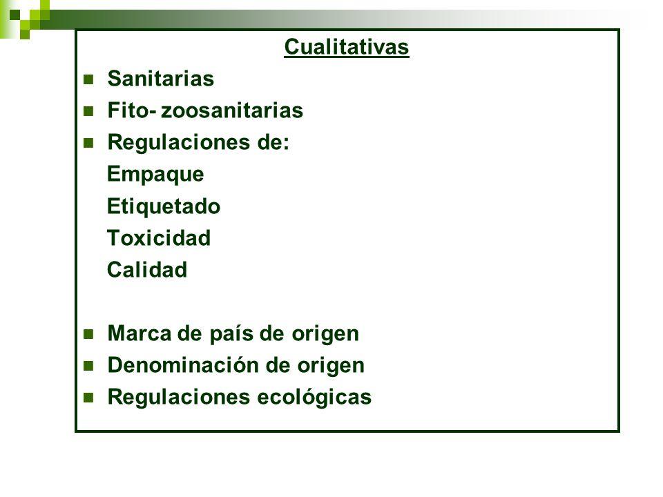 Cualitativas Sanitarias Fito- zoosanitarias Regulaciones de: Empaque Etiquetado Toxicidad Calidad Marca de país de origen Denominación de origen Regul