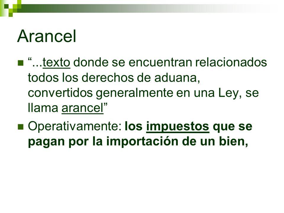 Arancel...texto donde se encuentran relacionados todos los derechos de aduana, convertidos generalmente en una Ley, se llama arancel Operativamente: l