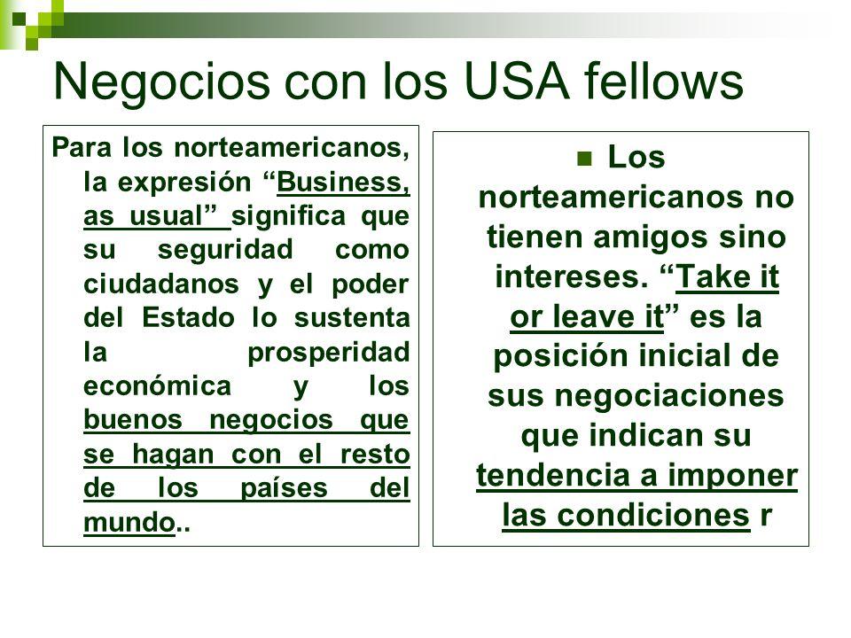 Negocios con los USA fellows Para los norteamericanos, la expresión Business, as usual significa que su seguridad como ciudadanos y el poder del Estad