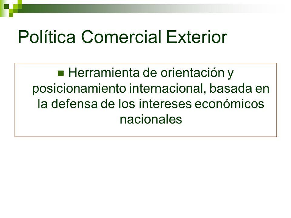 Política Comercial Exterior Herramienta de orientación y posicionamiento internacional, basada en la defensa de los intereses económicos nacionales