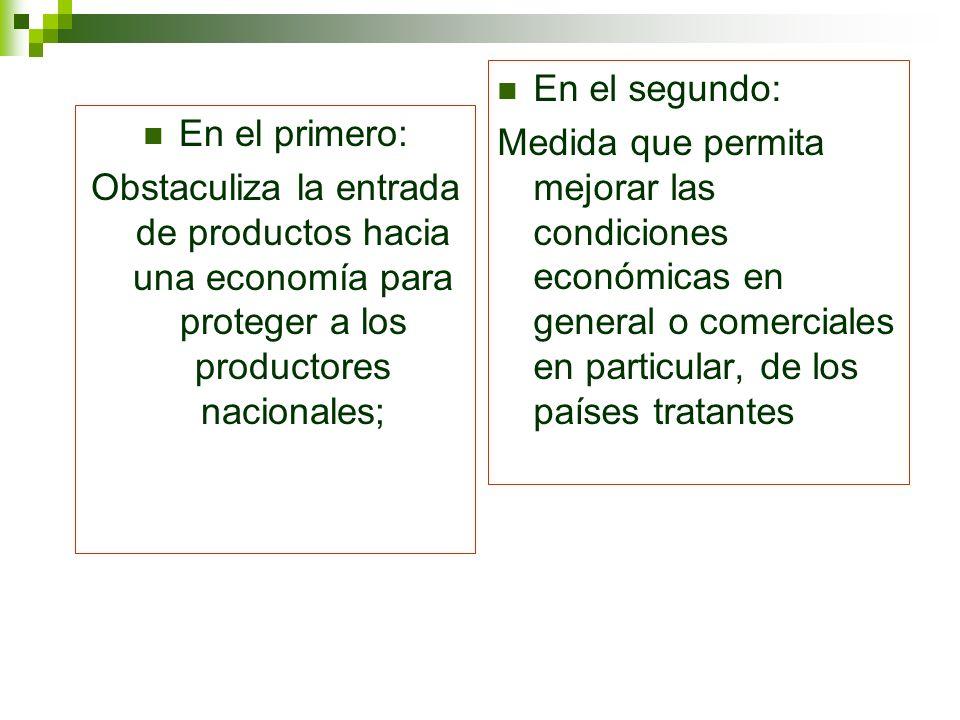 En el primero: Obstaculiza la entrada de productos hacia una economía para proteger a los productores nacionales; En el segundo: Medida que permita me