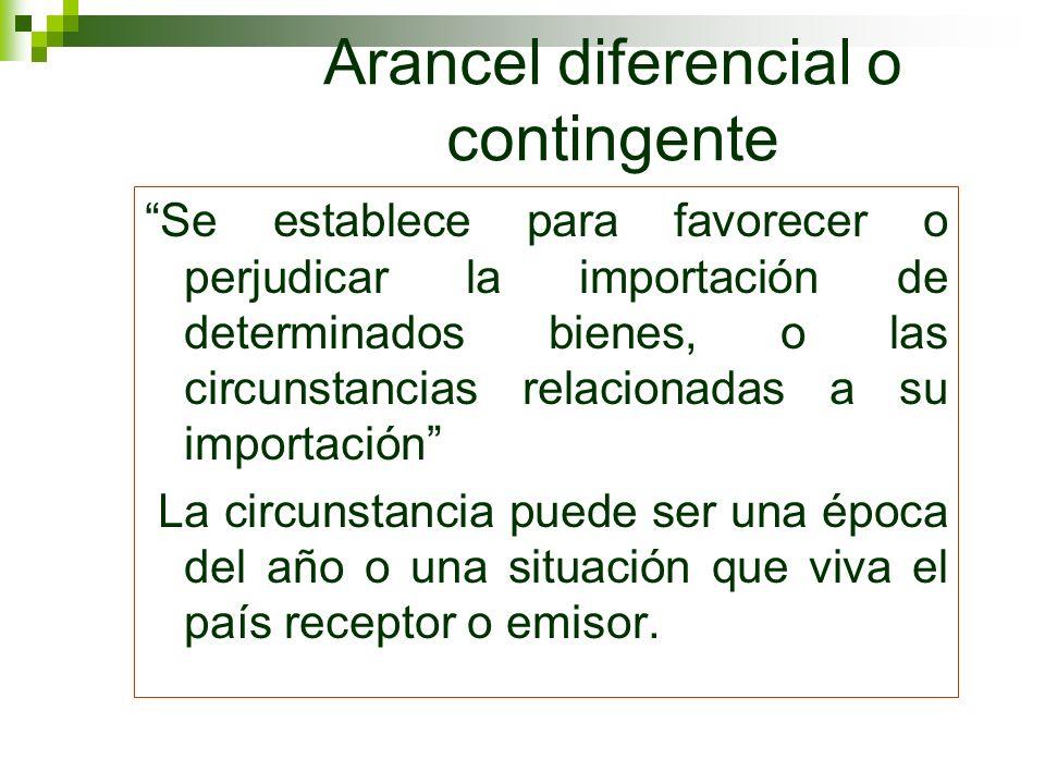 Arancel diferencial o contingente Se establece para favorecer o perjudicar la importación de determinados bienes, o las circunstancias relacionadas a
