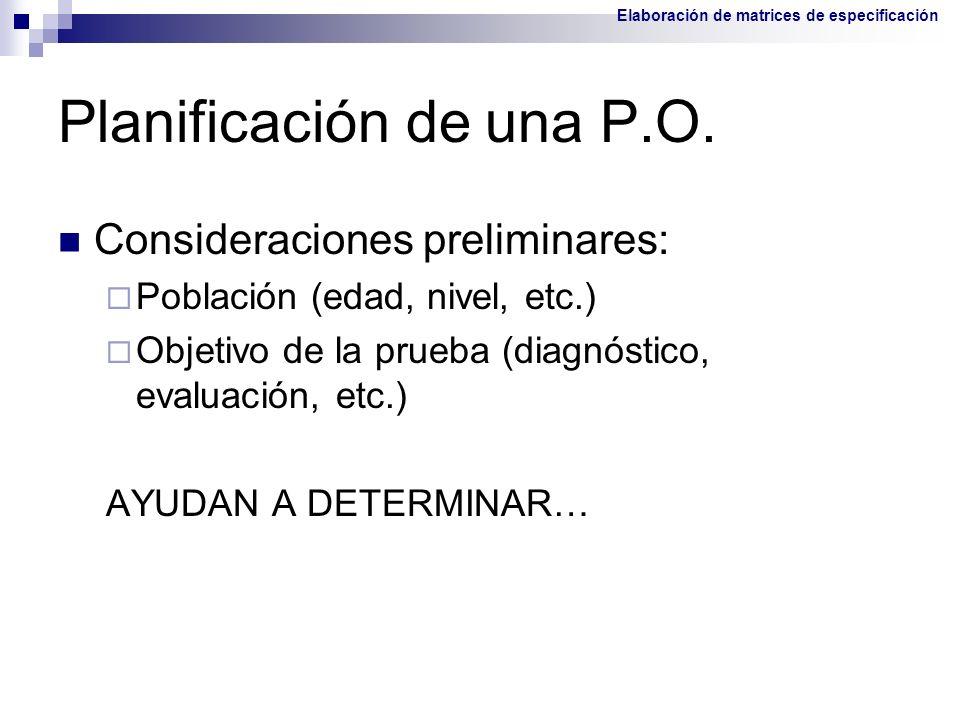 Planificación de una P.O. Consideraciones preliminares: Población (edad, nivel, etc.) Objetivo de la prueba (diagnóstico, evaluación, etc.) AYUDAN A D