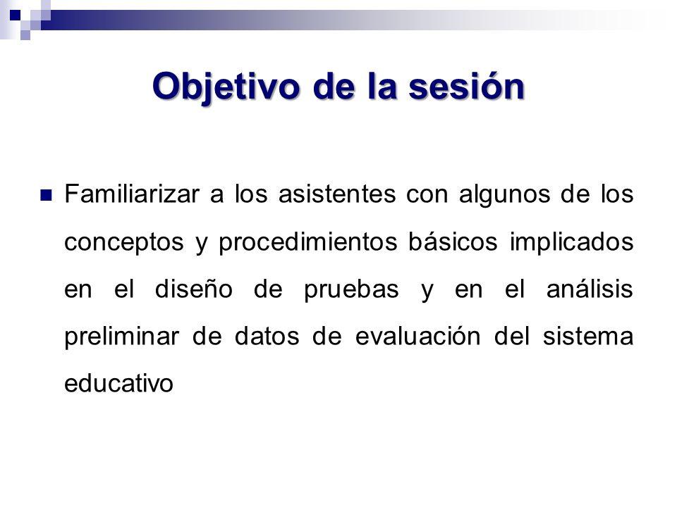 Objetivo de la sesión Familiarizar a los asistentes con algunos de los conceptos y procedimientos básicos implicados en el diseño de pruebas y en el a