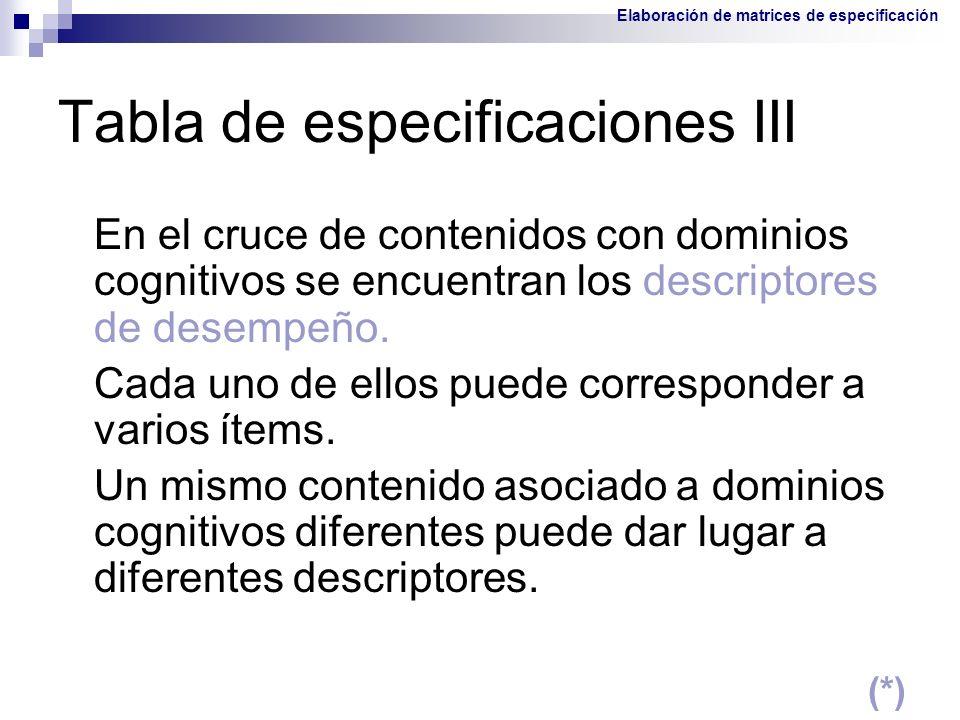 Tabla de especificaciones III En el cruce de contenidos con dominios cognitivos se encuentran los descriptores de desempeño. Cada uno de ellos puede c