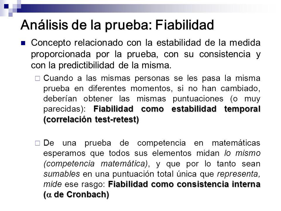 Análisis de la prueba: Fiabilidad Concepto relacionado con la estabilidad de la medida proporcionada por la prueba, con su consistencia y con la predi
