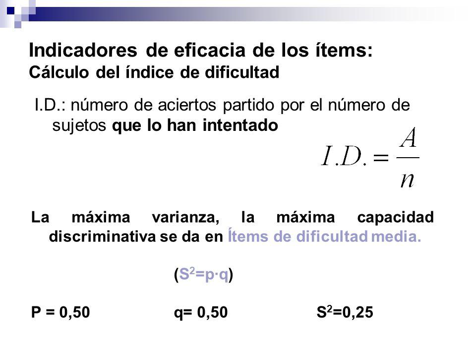 Indicadores de eficacia de los ítems: Cálculo del índice de dificultad I.D.: número de aciertos partido por el número de sujetos que lo han intentado