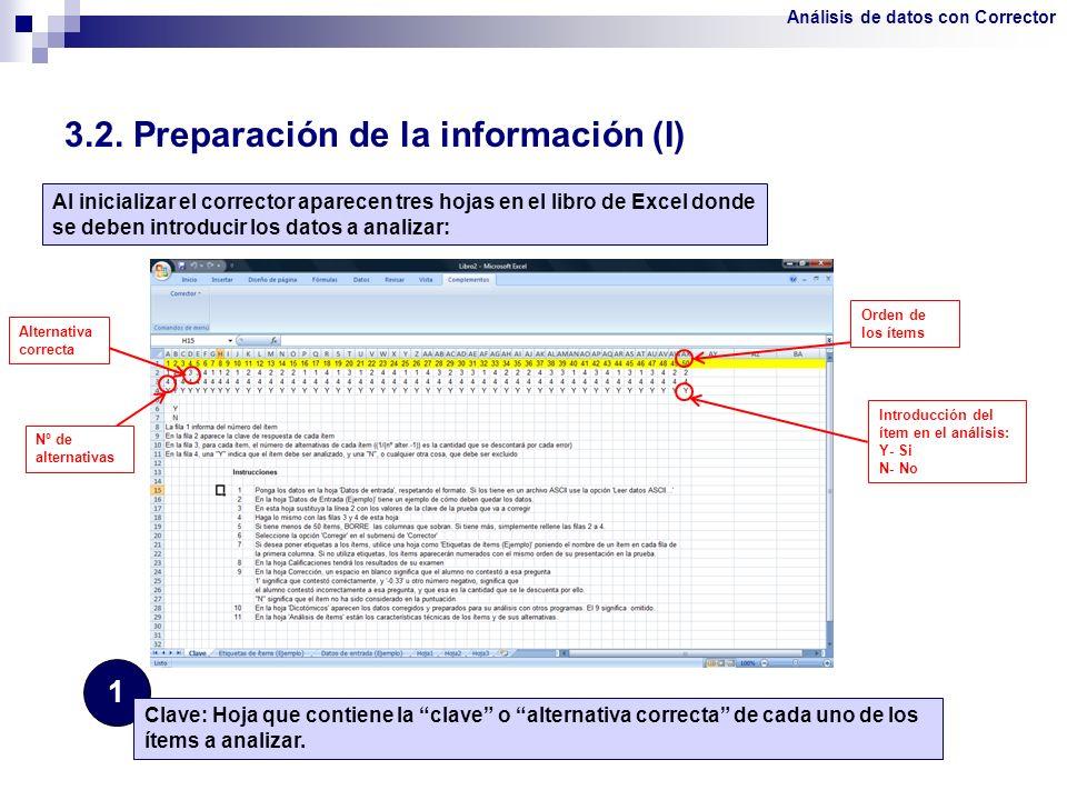 3.2. Preparación de la información (I) 1 Clave: Hoja que contiene la clave o alternativa correcta de cada uno de los ítems a analizar. Al inicializar