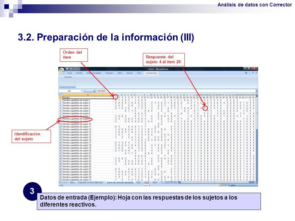 3.2. Preparación de la información (III) 3 Datos de entrada (Ejemplo): Hoja con las respuestas de los sujetos a los diferentes reactivos. Orden del ít