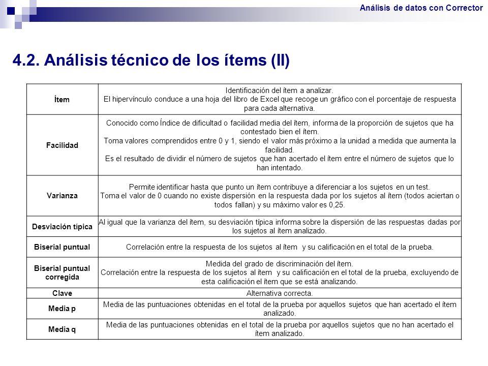 4.2. Análisis técnico de los ítems (II) Ítem Identificación del ítem a analizar. El hipervínculo conduce a una hoja del libro de Excel que recoge un g