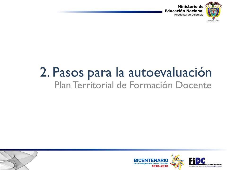 2. Pasos para la autoevaluación Plan Territorial de Formación Docente