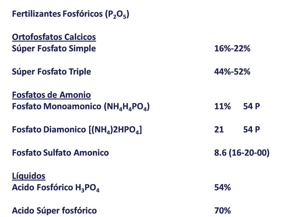 Fertilizantes Fosfóricos (P 2 O 5 ) Ortofosfatos Calcicos Súper Fosfato Simple16%-22% Súper Fosfato Triple44%-52% Fosfatos de Amonio Fosfato Monoamoni
