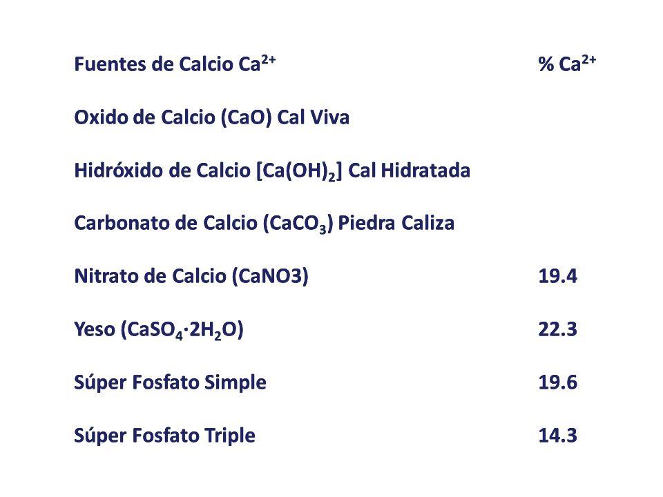 Fuentes de Calcio Ca 2+ % Ca 2+ Oxido de Calcio (CaO) Cal Viva Hidróxido de Calcio [Ca(OH) 2 ] Cal Hidratada Carbonato de Calcio (CaCO 3 ) Piedra Cali